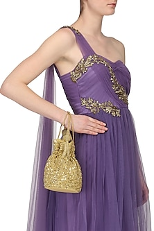 Gold Beads and Sequins Embroidered Bucket Potli Bag