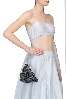 Black Beads and Pearl Embellished Triangle Pouch/Bag by Adora by Ankita