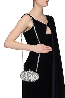 Silver Sequins and Beads Embellished Oval Clutch