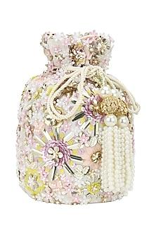 Pastel Hued Beads and Sequins Bucket Potli Bag by Adora by Ankita