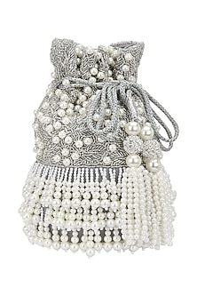 Silver Beads and Cutdana Flapper Potli Bag by Adora by Ankita