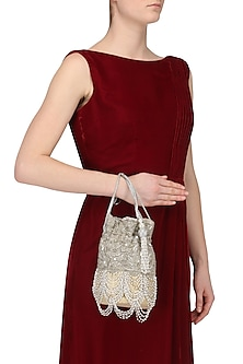 Silver Beads and Sequins Scallop Bucket Potli Bag by Adora by Ankita