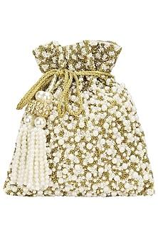 Gold Pearls and Beads Flat Potli Bag by Adora by Ankita