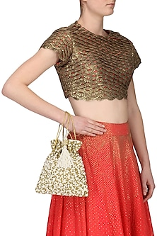 Gold Pearls and Beads Flat Potli Bag