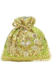 Green and Gold Gota Patti Embroidered Potli Bag by Adora by Ankita