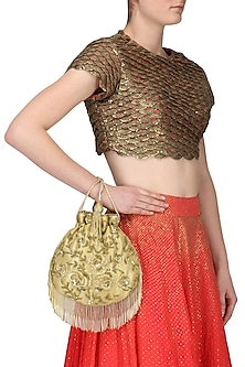 Gold Zardozi and Beads Flapper Potli Bag