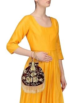 Maroon Zardozi and Beads Flapper Potli Bag by Adora by Ankita