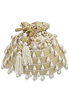 Gold Pearl Tasseled Potli Bag by Adora by Ankita
