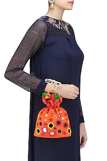 Orange Mirror Work Tassel Drop Potli Bag