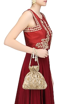 Champagne Gold Floral Gota Patti Work Potli Bag