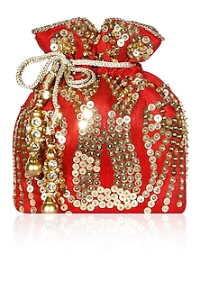 Red Sequins Embroidered Disco Potli Bag by Adora by Ankita