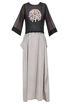 Black Embroidered Top with Striped Maxi Dress
