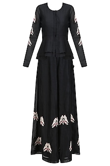 Black Birds Embroidered Peplum Top and Flared Pants Set