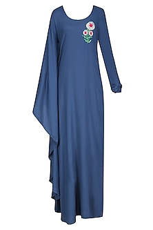 Blue Sunflower Motif One Sleeve Maxi Dress
