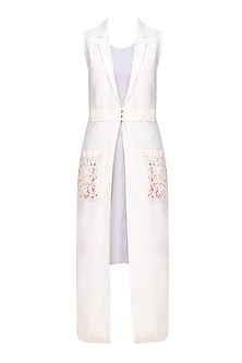 Ivory Birds Embroidered Long Jacket with Slip Dress