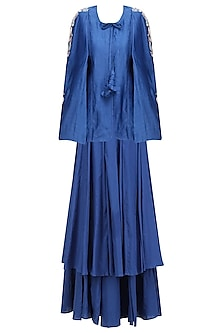 Blue Birds Embroidered Batwing Sleeve Jacket and Skirt Set