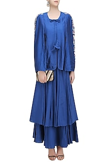 Blue Birds Embroidered Batwing Sleeve Jacket and Skirt Set by Aekatri by Charu Vij