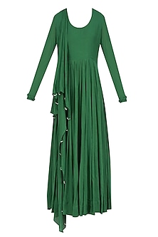 Green Flared and Pleated Drape Anarkali with Attached Dupatta