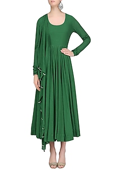 Green Flared and Pleated Drape Anarkali with Attached Dupatta by Aekatri by Charu Vij