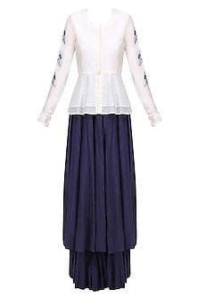 White and Blue Birds Embroidered Peplum Top and Skirt Set