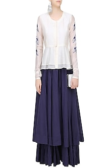 White and Blue Birds Embroidered Peplum Top and Skirt Set by Aekatri by Charu Vij