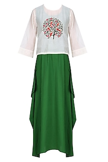 Off White Embroidered Top with Green Maxi Dress