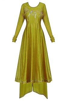 Mustard Lovebirds Motif Anarkali Set