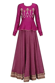 Cranberry Embroidered Peplum Lehanga Set