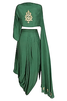 Green Floral Embroidered Top with Asymmetric Skirt