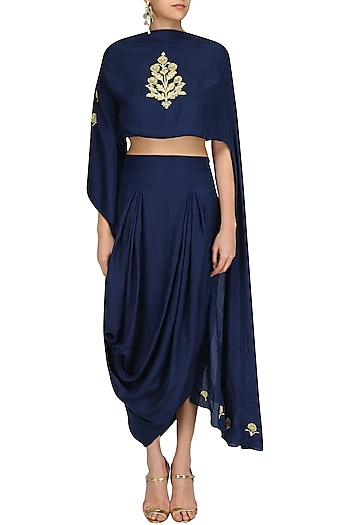 Blue Floral Embroidered Top with Asymmetric Skirt by Aekatri by Charu Vij
