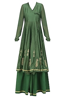 Moss Green Zari Angrakha Style Anarkali Kurta and Sharara Pants Set
