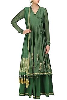 Moss Green Zari Angrakha Style Anarkali Kurta and Sharara Pants Set by Aekatri by Charu Vij