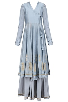 Powder Blue Embroidered Angrakha Style Kurta and Flared Pants Set