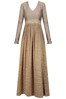 Beige and Gold Embroidered V Neck Dress by Aekatri by Charu Vij