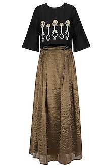 Black Potted Plant Motifs Top and Gold Skirt Set