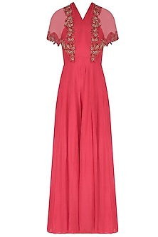 Coral Red Drape Jumpuit With Floral Embroidered Cape