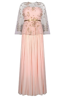 Nude Peach Pleated Gown With Floral Embroidered Sheer Cape and Brass Belt