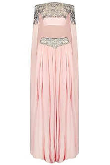 Blush Pink Embroidered Crop Top With An Attached Cape and Skirt Set