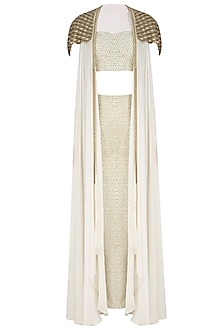 Ivory and Gold Embroidered Corset, Maxi Skirt and Cape Jacket Set