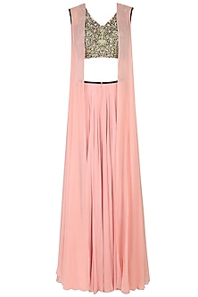 Pink Embroidered Corset, Draped Pants and Cape Jacket Set