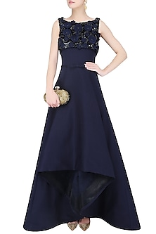 Midnight Blue 3D Floral Embroidered High Low Ball Gown by AGT By Amit GT