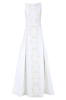 Off White and Gold 3D Floral Embroidered Ball Gown