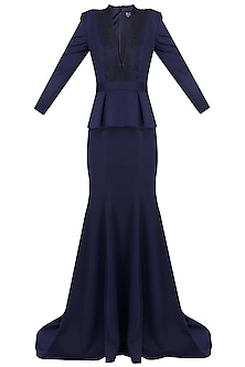 Navy Blue In Built Peplum Coat and Short Train Gown