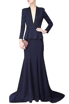 Navy Blue In Built Peplum Coat and Short Train Gown by AGT By Amit GT