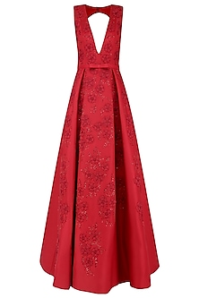 Red 3D Floral Embroidered Motifs Ball Gown