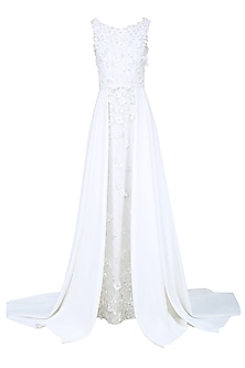Off White 3D Floral Textured and Beaded Ball Gown by AGT By Amit GT