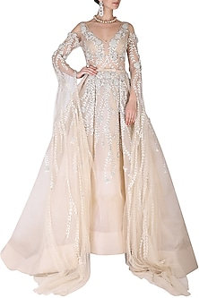 Beige Embroidered Gown by AGT By Amit GT