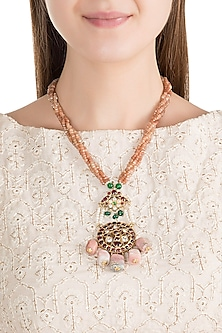 Gold Plated Kemp Stone & Pearl Pendant Necklace by Aaharya