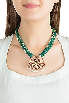 Gold Plated Kemp Stone Green Necklace by Aaharya