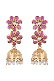 Gold Plated Double Floral Jhumka Earrings by Ahilya Jewels